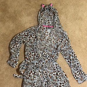 Super soft and cute girls leopard robe 14-15